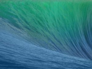 Обои 10.9 Mavericks представлена в виде волны, выглядит довольно завораживающе